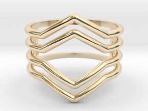 4V ring size K, 50 (small) in 14K Yellow Gold