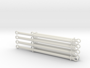 pushrods 13m and 17m  4 piece +4 piece set in White Natural Versatile Plastic