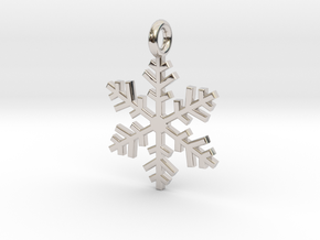 Snowflake Charm 1 in Rhodium Plated Brass
