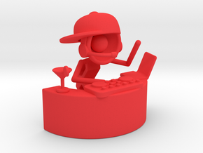 "Lala as DJ , ""Somebody dance with me"" - DeskToys in Red Processed Versatile Plastic"
