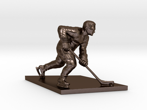 Hockey Player in Polished Bronze Steel