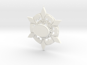 Fleur De Lis Snowflake Ornament in White Processed Versatile Plastic