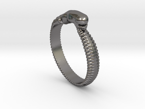 ChestBursterRing Alfa small in Polished Nickel Steel