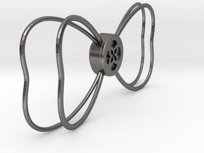 Tu Bow Tie Outline Version 2 in Polished Nickel Steel