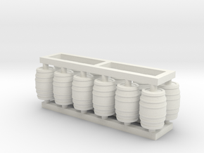 Barrel 60 Gal - HO 87:1 Scale Qty (12) in White Natural Versatile Plastic
