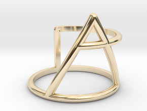 Xplore glyph ring size:small/medium in 14k Gold Plated Brass
