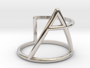 Xplore glyph ring size:small/medium in Rhodium Plated Brass
