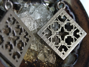 Squared Lace Earrings in Polished Bronzed Silver Steel