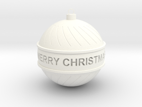 Christmas Ball with text! in White Strong & Flexible Polished