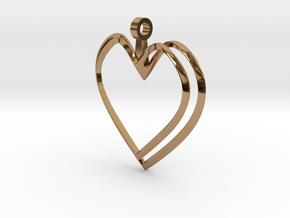 Open Heart Pendant in Polished Brass