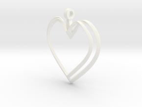 Open Heart Pendant in White Processed Versatile Plastic