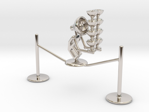 "Lala ""Walking in rope & balancing wine glass"" - De in Rhodium Plated Brass"