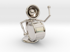 """Lala """"Playing Drums"""" - DeskToys in Rhodium Plated Brass"""