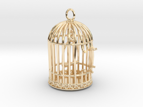Freedom Birdcage Pendant in 14k Gold Plated Brass