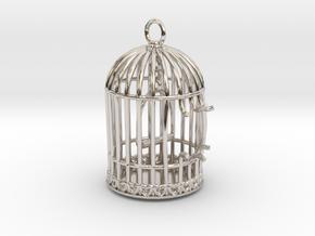 Freedom Birdcage Pendant in Rhodium Plated Brass
