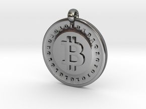 Bitcoin pendant in Fine Detail Polished Silver