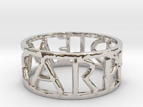 Carpe Diem Ring Size 7 in Rhodium Plated Brass