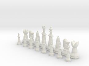 1/2 Set Modern Tournament Size Chess Piece (white) in White Natural Versatile Plastic