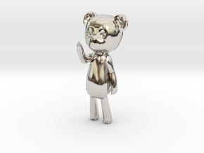 Among the Sleep Teddy Bear in Rhodium Plated Brass