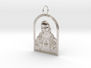 Jesus Heart Pendant in Rhodium Plated Brass