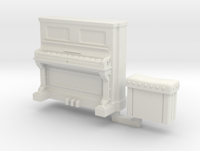 28mm/32mm Upright Piano and stool  in White Natural Versatile Plastic