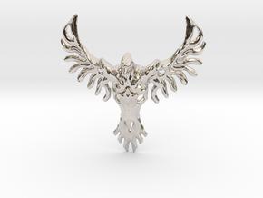 Rebirth Phoenix & Bull Skull Pendant: Small in Platinum