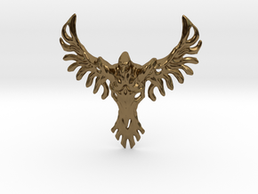 Rebirth Phoenix & Bull Skull Pendant: Small in Polished Bronze