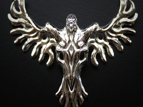 Rebirth Phoenix & Bull Skull Pendant: Small in Polished Silver