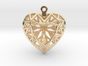 3D Printed Diamond Heart Cut Earrings  in 14k Gold Plated Brass