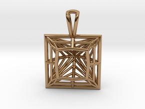 3D Printed Diamond Princess Cut Pendant by bondswe in Polished Brass