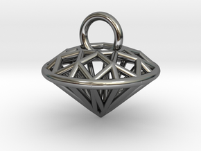 3D Printed Diamond is My Best Friend Pendant Small in Premium Silver
