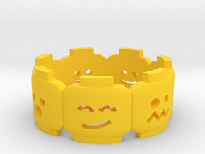 Yellow Brick Head Mood Ring in Yellow Strong & Flexible Polished: 6 / 51.5