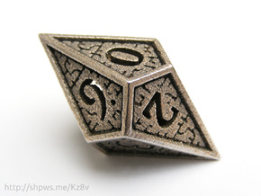 Hedron D10 (v2 closed) Spindown - Hollow in Polished Bronzed Silver Steel