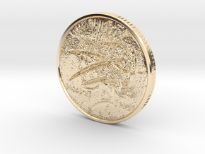 Two Faced Silver Dollar with scars on one side in 14K Yellow Gold