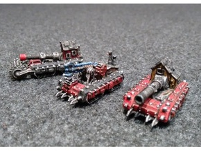 6mm Super-kannon Wagons (x3) in White Strong & Flexible