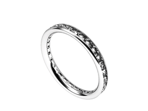 ring with diamonds in Fine Detail Polished Silver