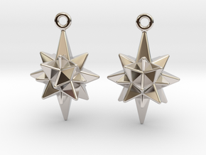 Moravian Star Earrings in Platinum