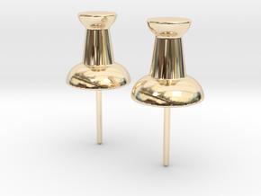Push Pin Stud Earrings in 14K Yellow Gold