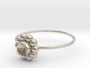 Size 6 Shapes Ring S6 in Rhodium Plated Brass