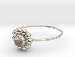 Size 7 Shapes Ring S6 in Rhodium Plated Brass