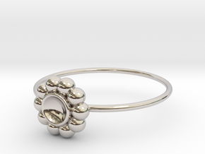 Size 6 Shapes Ring S5 in Rhodium Plated Brass