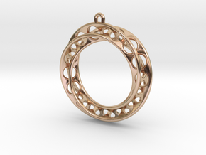 Mobius Band 30mm With Loop / Pendant Enhanced Vers in 14k Rose Gold