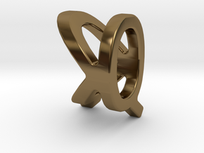 Two way letter pendant - KQ QK in Polished Bronze