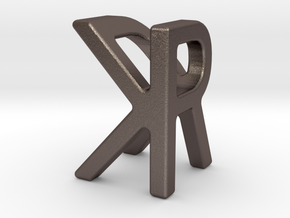 Two way letter pendant - KR RK in Polished Bronzed Silver Steel