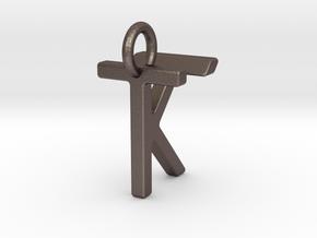 Two way letter pendant - KT TK in Polished Bronzed Silver Steel