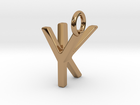 Two way letter pendant - KY YK in Polished Brass