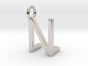 Two way letter pendant - LN NL in Rhodium Plated Brass