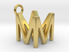 Two way letter pendant - MM M in Polished Brass
