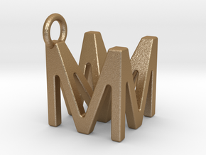 Two way letter pendant - MM M in Matte Gold Steel