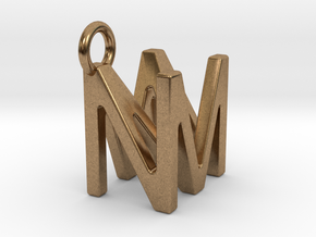 Two way letter pendant - MN NM in Natural Brass